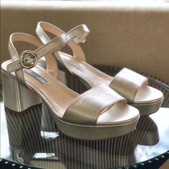 dd732b72f7f NIB Prada Silver Heels